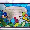 ステンドグラスパネル「鳥の家族」