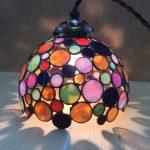 生徒さんの作品。丸いガラスのランプ