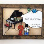 ピアノと女の子と男の子のウェルカムボード