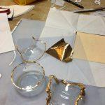 割れたガラスの金継ぎ